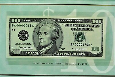 ten dollar low number uncirculated note first issued May 24, 2000 BEP