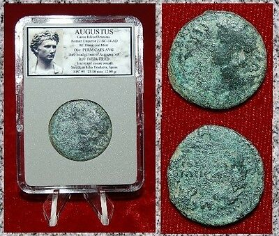 Ancient Roman Coin AUGUSTUS Julia Traducts Spain Bust of Augustus On Obverse