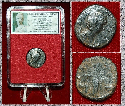 Ancient Roman Empire Coin Of SALONINA Pietas Standing By Altar With Patera