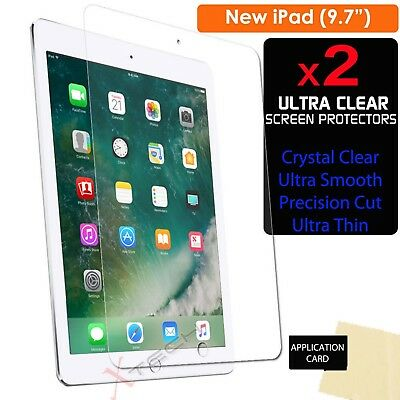 """2x CLEAR Screen Protector Guard Covers for New Apple iPad 9.7"""" (2017 / 2018)"""