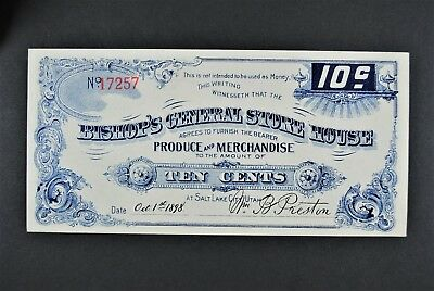 1898 10c Bishop's General Store House - UTAH (Mormon) Merchant Scrip mint