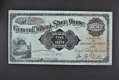 1898 5c General Tithing Store House - UTAH (Mormon) Merchant Scrip