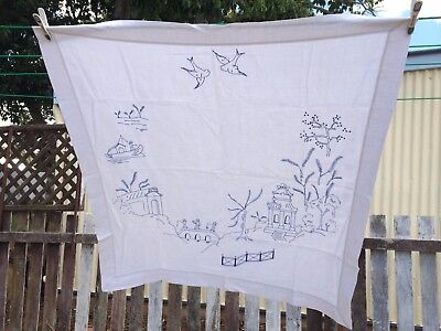 Vintage Tablecloth Whitework Embroidery Linen Willow Pattern Blue & White