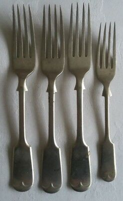 3 X NEVADA SILVER D&A TABLE FORKS  and 1 SILVER PELHAM  HF&CO SMALLER FORK