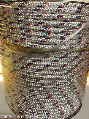 """Sailboat Rigging Rope 3/8"""" X 200' Double Braided Polyester  Red/blue Tracer"""