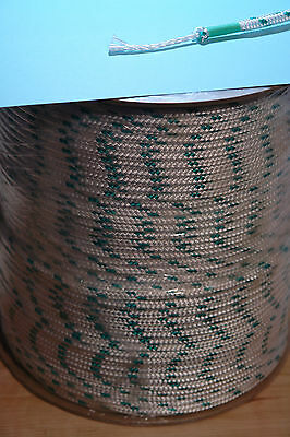 """Sailboat Rigging Rope 1/4"""" X 600' Double Braided Polyester With Green Tracer"""