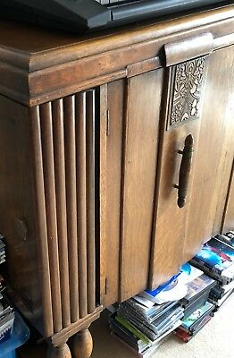 antique mahogany carved sideboard cabinet with side drinks cabinet