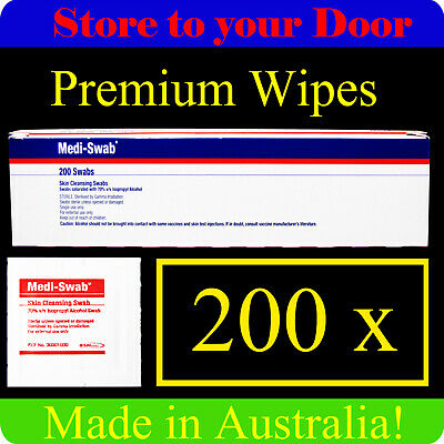 200 x Alcohol Wipes Medi Swabs - Sterile medical Isypropyl wipe, swab, prep pads