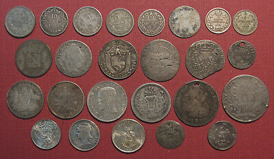 Lot Of (24) World Silver Coins!  Wide Variety Of Countries, Colonies & States!