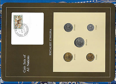 Coin Sets of All Nations Ethiopia w/card 1977 UNC British Mint Fox stamp