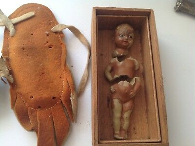 """Antique Native American Indian Papoose Bisque 4""""doll broken w/Pouch  repair/part"""