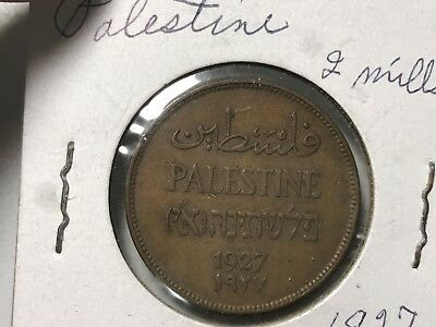 1927 Palestine 2 Mils world foreign coin great condition