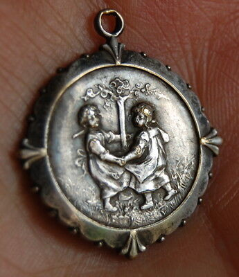 RARE Antique Art Nouveau 800 Silver German Charm Pendant Ring Around the Rosie!