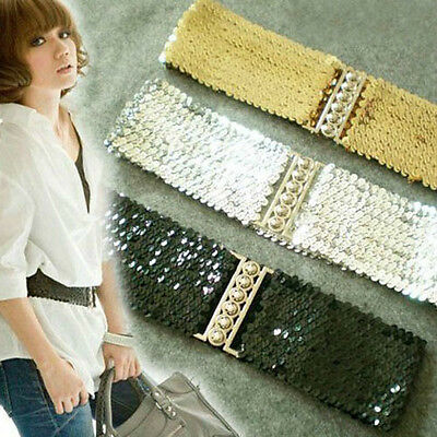 Glittery Metal Buckle Sequin Elastic Stretch Waist Belt XS S (Black/Silver/Gold)