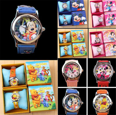 Cute Minnie Mouse Cartoon Leather Quartz WristWatch Girl Kids Fashion Watches