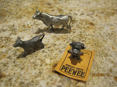 3 MINIATURE PEWTER COWS AND BULLS SPOONTIQUES and PEEWEE