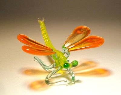 Blown Glass Art Insect Figurine Small Orange and Yellow DRAGONFLY