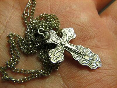 CRUCIFIXION SAVE & PROTECT PRAYER OLD VINTAGE STERLING SILVER CROSS w CHAIN #271