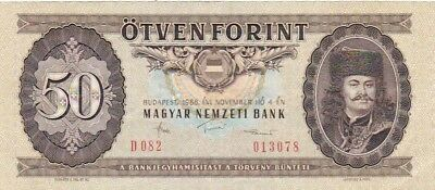 1986 Hungary 50 Forint Note, Pick 170g