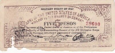 1943 Philippines Negros Army of the United States of America 5 Pesos Military Nt