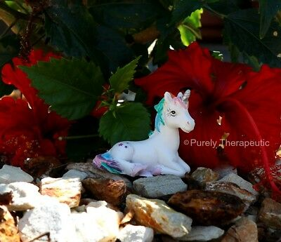 UNICORN FIGURINE MAGICAL 5cm LYING ON LEFT SIDE Mythical Magic Horse Miniature