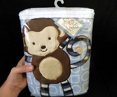 CoCaLo Baby (120cm x 135cm) COT BLANKET fleece with MONKEY DESIGN blue boys NEW