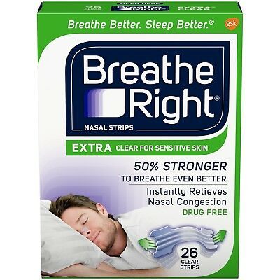Breathe Right Extra Nasal Strips Clear Color for Sensitive Skin 26 Strips New