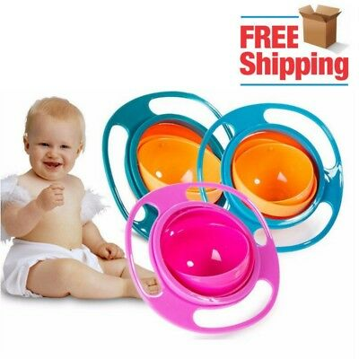 Baby Anti Spill Non Spill Rotating Feeding Bowl Kids Toddler Infants Avoid Food