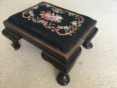 Vintage Wooden Foot Stool With Flower Tapestry Top