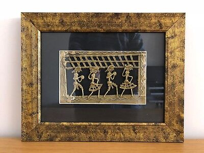 Authentic Handmade Dhokra Bastar Folk Dance Brass Indian Tribal Framed Wall Art