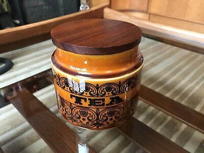 Hornsea Pottery Scrolls Brown Tea Caddy With New Seal Mid Century Retro Teak