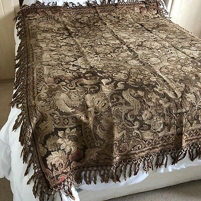 Antique Old ? William Morris Fringed Tapestry Rug Throw Table Bed Cover France