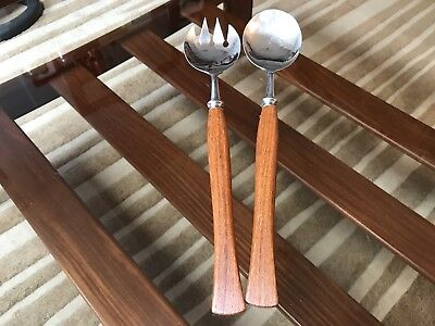 Cathrineholm Salad Servers Teak Stainless Steel Norway Mid Century Retro