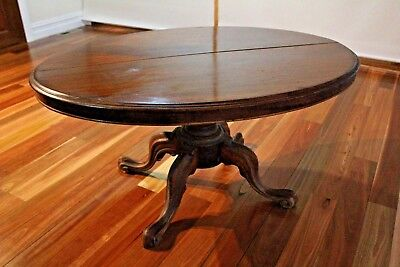 Antique table - with glass and folds up - Loo table