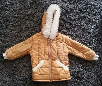 Vintage Boys Quilted Hooded Coat 12-18months (H 90cms) Mothercare