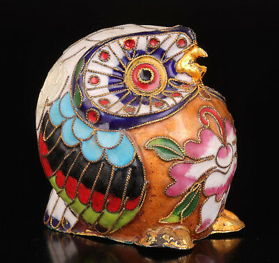 Cloisonne Statue Old Handmade Animal Owl Craft Collection