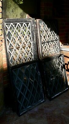 Old leaded light windows in metal frames