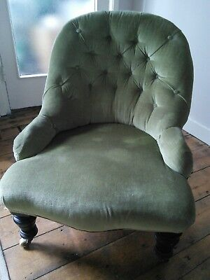 Pretty green antique button back nursing chair