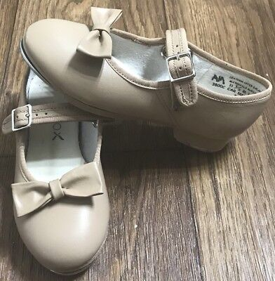 Capezio Tan Mary Jane Velcro Strap Tap Shoes With Clip On Bow Toddler Size 11.5M