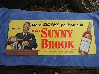 vintage Old Sunny Brook whiskey double sided cardboard sign