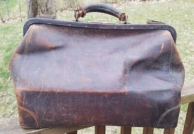 Early 1900 Antique Real Cowhide Leather Physican Doctors Medical Bag Case Usa
