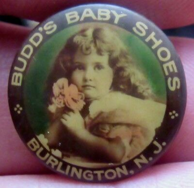 Antique Celluloid Budd's Baby Shoes Early 1900's Pinback Button Cruver Mfg Co.