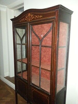 Display cabinet. Tall, elegant, glass fronted cabinet.