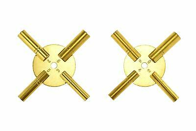 2pc Universal 4 Prong Brass Clock Key for Winding Clock, ODD & EVEN Numbers
