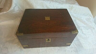 Antique Collectors Victorian Writing Slope Storage Box With Brass Inlay