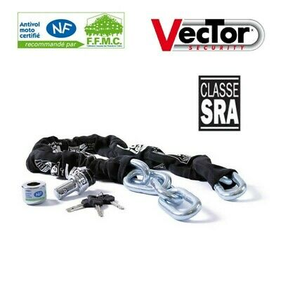 Chaine Antivol Homologue Sra Vector Diam 14 Longueur 1200 Mm Moto Scooter