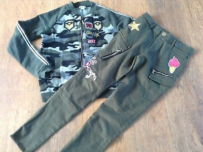 100% River Island Girls Small Bundle/outfit Camo Badge Jacket / Jeans 9-11Yrs