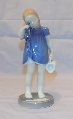 Vintage Royal Copenhagen Denmark Girl Crying Over Spilt Milk Porcelain Figurine