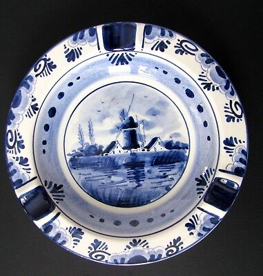 Delfts Holland Vintage Hand Painted Artist Signed Blue Windmill Scene Ash Tray