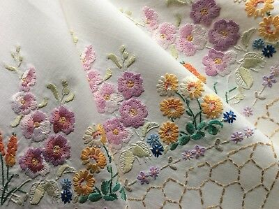 Beautiful Vintage Hand Embroidered Tablecloth ~ Gorgeous Floral Garden